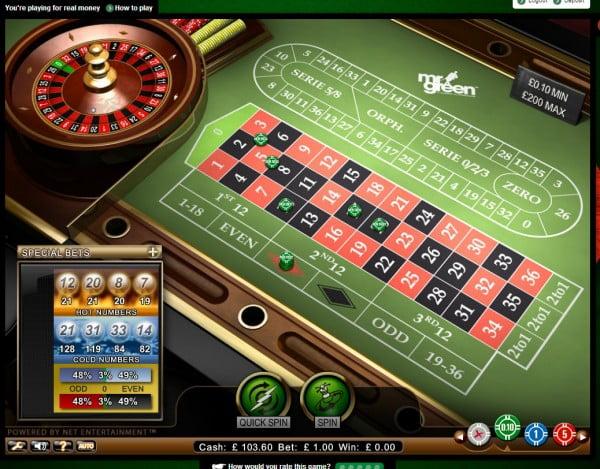 Mr Green online roulette i Sverige